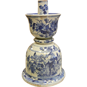 Antique Chinese Blue & White Porcelain Candle Holder