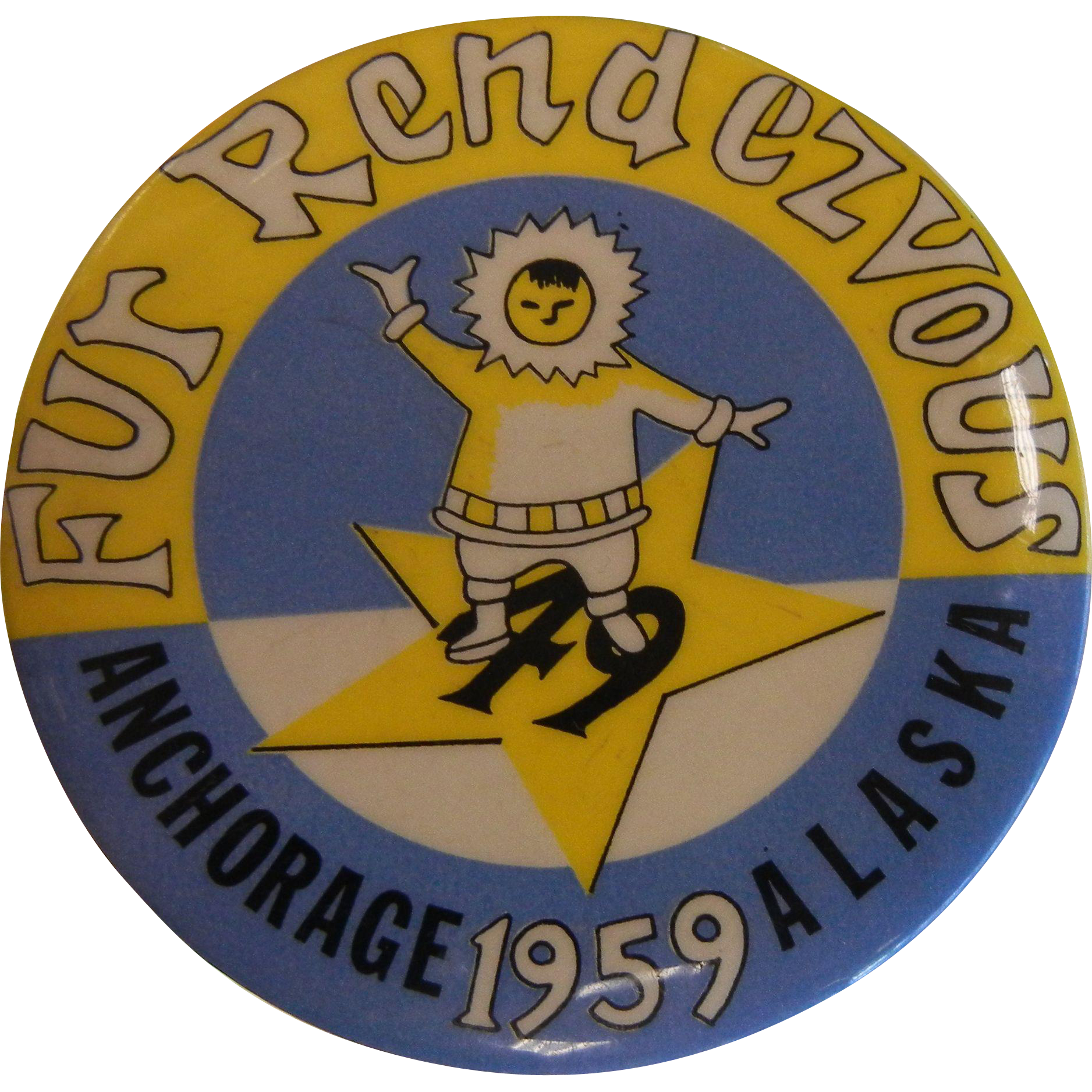 Vintage 1959 Fur Rendezvous Button from Anchorage, Alaska