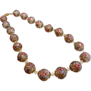 Vintage Glass Venetian Wedding Cake Bead Necklace