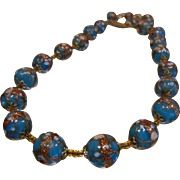 Vintage Venitian Blue Wedding Cake Bead Necklace