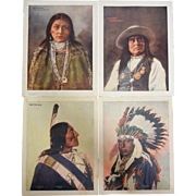 Set of Four Colorized Lithographs By F.A. Rinehart, Omaha Native American Indian Pictures