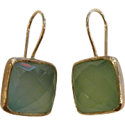 Fine Sterling Silver Hook Earrings w/ Aqua Blue Faceted Glass Jewels