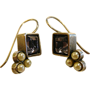 Fine Sterling Silver Hook Earrings w/ Blue Rhinestones & Seed Pearls