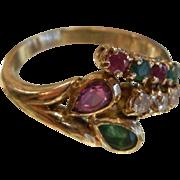 Beautiful Diamond Rubies & Emerald 14K Gold Ring - Size 5.75