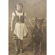 Vintage Original B&W Photo Postcard - Little Girl & Doberman Pinscher