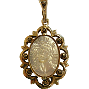Vintage Gilded Sterling Silver Pendant w/ Carved Mother of Pearl Portrait of Jesus Christ