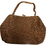 Vintage Brown Beaded Handbag