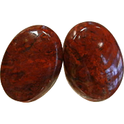 Natural Oregon Red Agate Cabochon Stud Earrings
