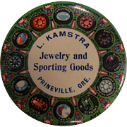 Vintage Advertising Mirror - L. Kamstra Jewelry and Sporting Goods Prineville, Oregon