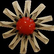 Large Vintage White Red Enamel Flower Brooch