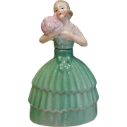 Vintage German Porcelain Perfume Bottle - Lady in Green Dress