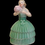 Vintage German Porcelain Perfume Bottle - Lady in Green Dress