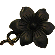 Vintage Carved Black Flower Brooch