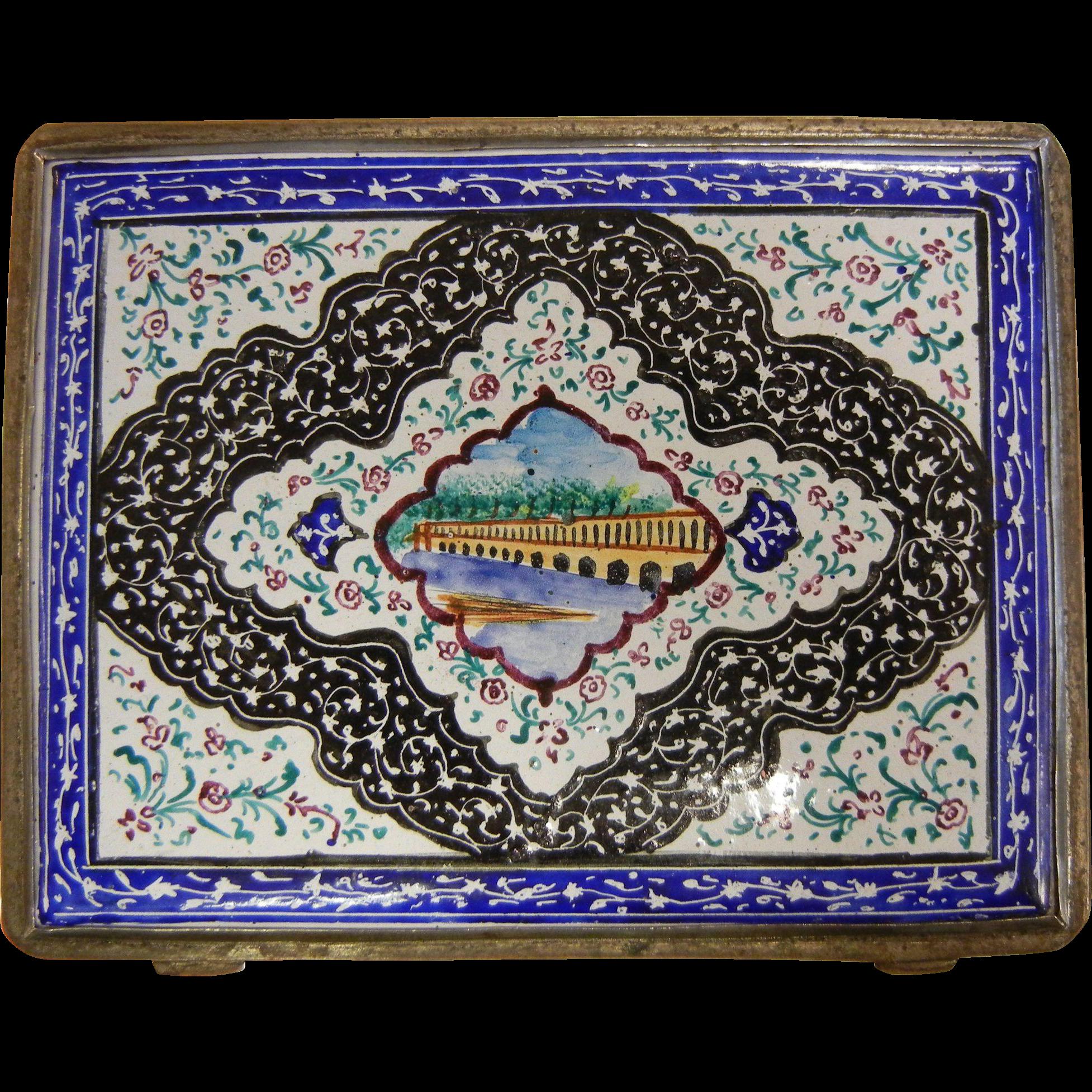 Vintage Persian Enameled Cigarette Or Card Case