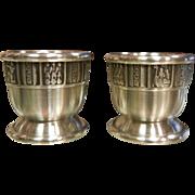 Vintage KONGE tinn Norwegian Pewter Egg Cups