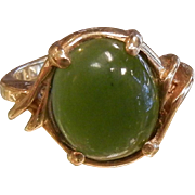 Vintage Signed DASON 10K Gold & Jade Ring - Size: 6