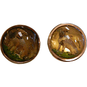 Antique 1880's English Cufflinks w/ Reverse Dog Paintings