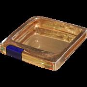 Unique Square-Style 14 K Gold Ring w/ Diamonds & Inlaid Lapis