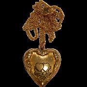 Vintage Gold Filled Heart-Shaped Locket Pendent Necklace