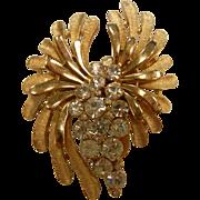Vintage TRIFARI Gold-Tone Brooch w/ Clear Rhinestones