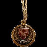 Vintage Enameled 10K Gold Harvard VERITAS Pendant Necklace