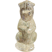 Vintage Pressed Clear Glass Dog Figurine