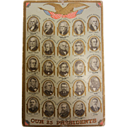 Vintage Embossed Postcard of 25 Presidents Portraits