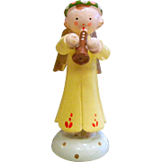 Vintage Hand Painted Wooden Angel Figurine - Made in Italy