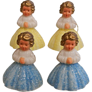 Set of 4 Vintage Plastic Angels