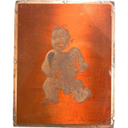 Vintage Copper Metal Silkscreen Photograph of Baby Portrait