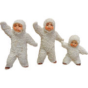 Antique  German Snow Babies Dolls - Set of 3