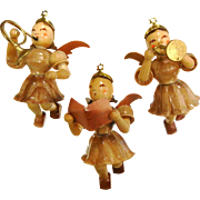 Set of Three Vintage German Made Wooden Angel Ornaments