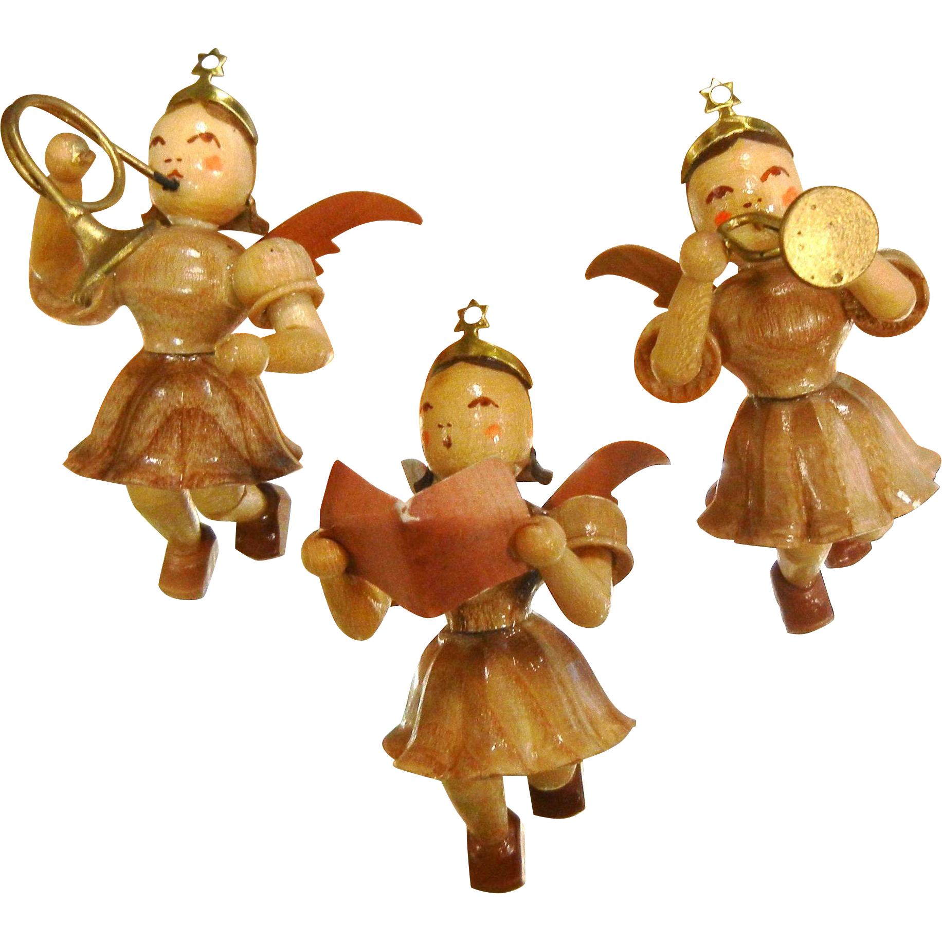 Set of three vintage german made wooden angel ornaments