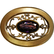 Vintage 1930's Gold-Tone Brooch w/ Amethyst Glass