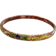 Vintage Chinese Enameled Bangle Bracelet w/ Dragon Motif