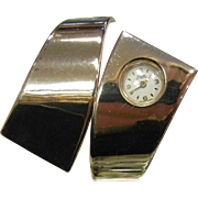 Vintage Mid Century Canri By Mepa Gold-Tone Cuff Bracelet Watch