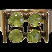 Unique Mid Century Peridot & 18K Gold Ring