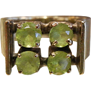 Unique Mid Century Peridot & 18K Gold Ring