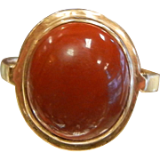 Fine 14K Gold Ring with Natural Red Stone Cabochon