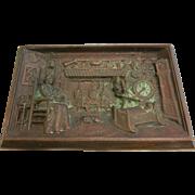 Antique Sand Cast Bronze Relief Plaque w/ American Homesteading Scene