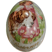 Vintage Royal Bayreuth Germany Easter 1977 Painted Porcelain Egg