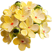 Vintage Bone China Brooch Yellow Glazed Forget Me Not Flowers
