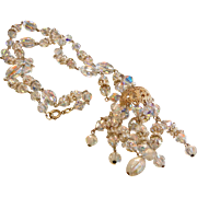 Vintage Faceted Iridescent Crystal Bead Necklace