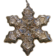 Vintage 1975 Gorham Sterling Silver Snowflake Christmas Ornament