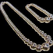 Fine Sterling Silver Graduated Bead Necklace & Bracelet Set