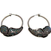 Vintage Enameled Butterfly Hoop Earrings