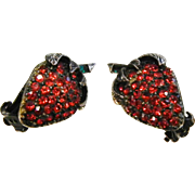 Vintage Rhinestone Strawberry Clip Earrings