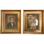 Pair of Vintage Gilded Wooden Frames w/ Pictures of Boy & Girl
