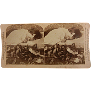 "Vintage Original B&W Stereoview Photo - ""Tired of Play"" Sleeping Child & Cat"