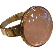 Mid Century Modern Rose Quartz & Sterling Silver Ring - Size: 8